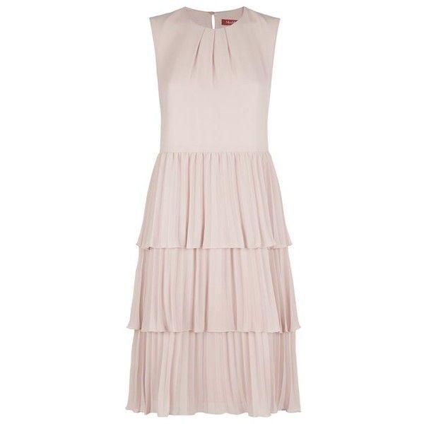 Max Mara Pleated Skirt Dress (32.925 RUB) ❤ liked on Polyvore featuring dresses, pink crepe dress, round neck dress, pink pleated dress, pink dress and summer dresses
