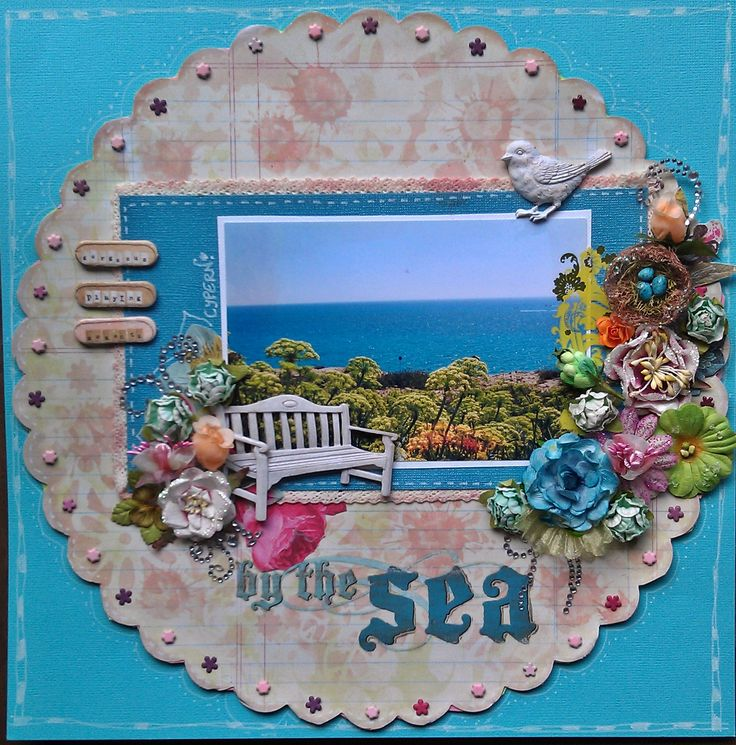 By the sea - Scrapbook.com  love the use of the eyelets.
