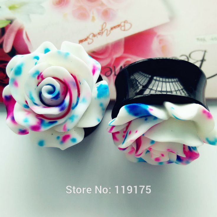 Blue Floral Rose Ear Plug Tunnel UV Acrylic Ear Gauge 1 Pair Body Ear Expander Piercing Jewelry