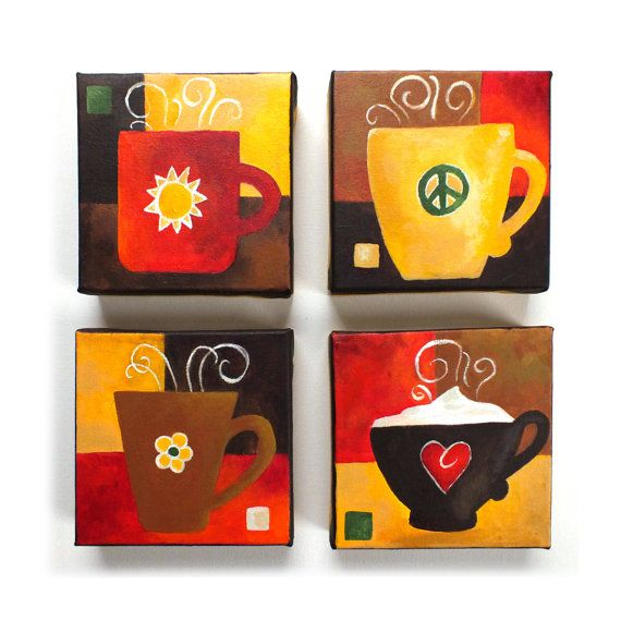 Custom Coffee Mug Painting Set Of 4 6x6 Acrylic Canvases Art For Kitchen Personalized