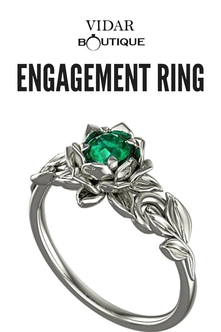 Lotus Flower Emerald Engagement Ring Floral Engagement Ring Emerald Engagement Ring Emerald Engagement