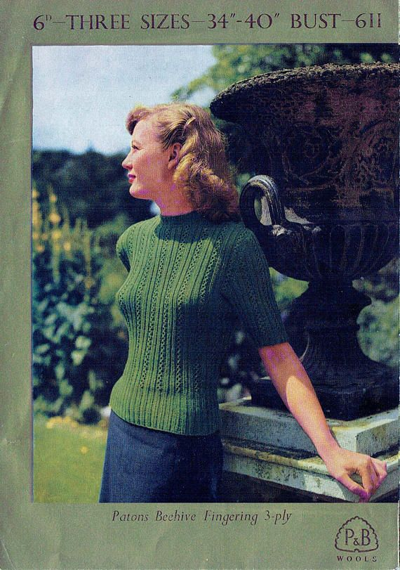 PDF Vintage 1940s Ladies Lacy Green Jumper Knitting Pattern