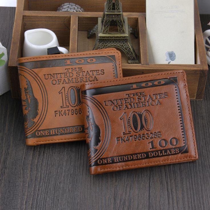 Моды для Мужчин Бумажники 2015 Доллар США Билл Бумажник Коричневый Кожаный PU бумажник/Кошелек Для Мужчин Двойные Кредитная Карта Фото Мужские Денежные Мешки