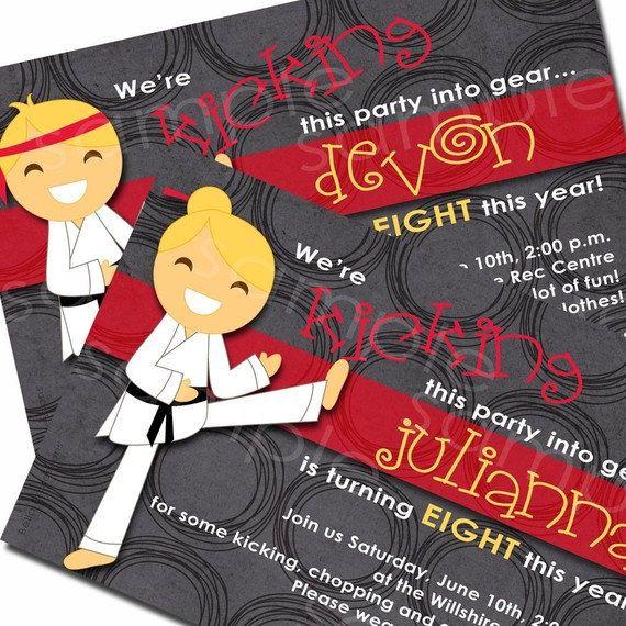 Karate Chop Birthday Party Invitation for Boys or Girls, kicking, tae kwon do (Digital File) via Etsy