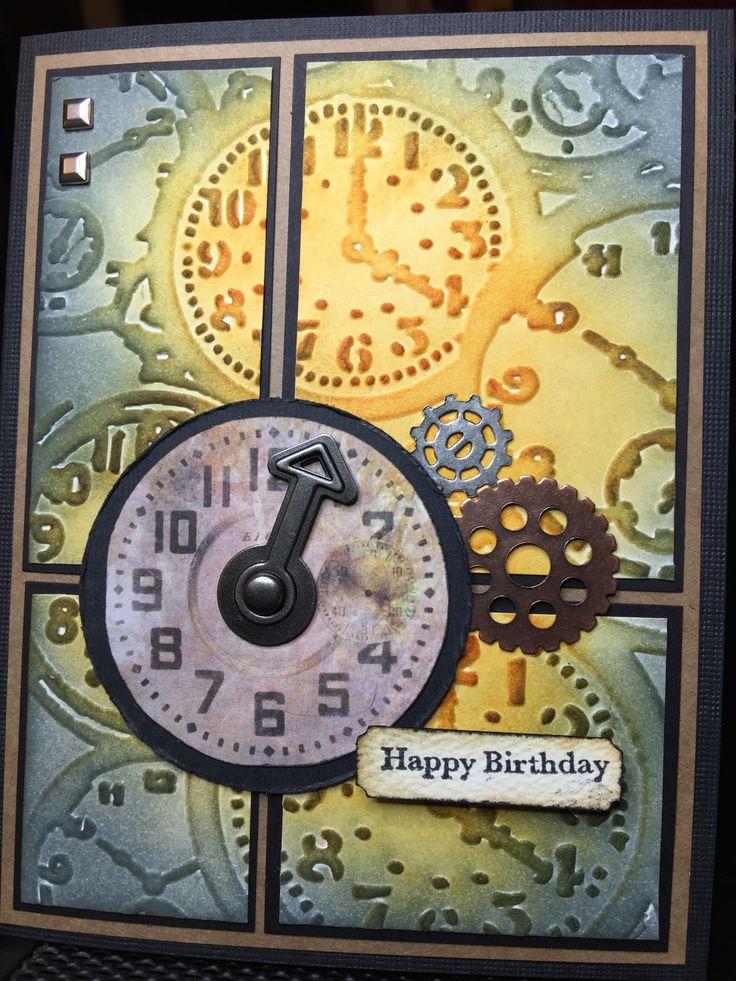 Birthday card for cousin Doug. Tim Holtz clocks embossing folder, distress inks, gear embellishments, masculine. July 2015.
