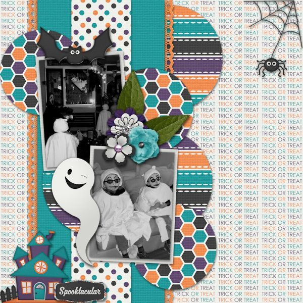 Spooktacular - Digital Scrapbook Layout I created using Spooky Night by Creations by Samantha and October 2016 Template Pack by Desings by Romajo at With Love Studio. I love the bright colors and sweet halloween themed elements in the kit and the cirlces and lines in the Template Set.