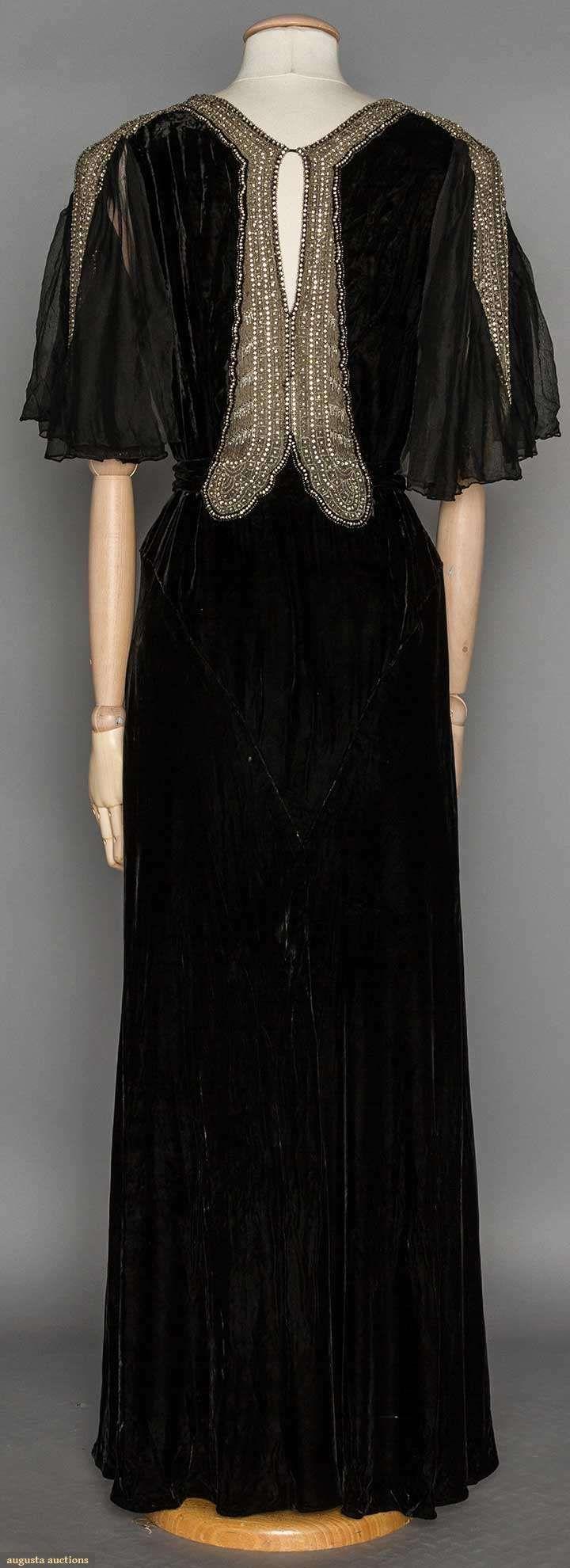 RHINESTONE TRIMMED EVENING GOWN, 1930's   Black silk velvet, chiffon flutter short sleeves, key-hole back, silver metallic w/ rhinestone neck & sleeve trim (back view)