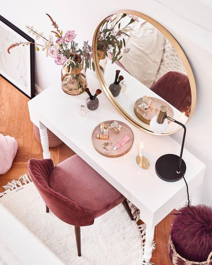 Runder Wandspiegel Metal mit Goldrahmen Schlafzimmer