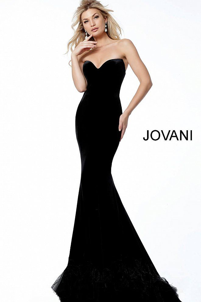 f24a088e08ea Black Velvet Plunging Neck Feather Bottom Evening Dress 60512 in 2019