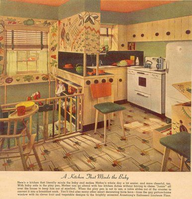 Gold country girls advertisements great old kitchen for Vintage linoleum flooring