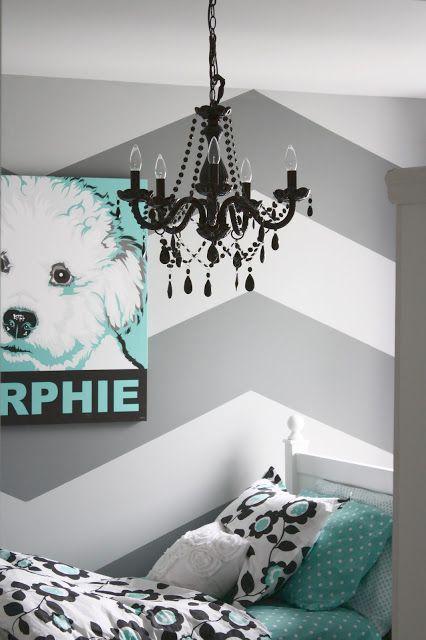 Herringbone chevron wall love the chandelier, bedding etc. for tween/teen girl room