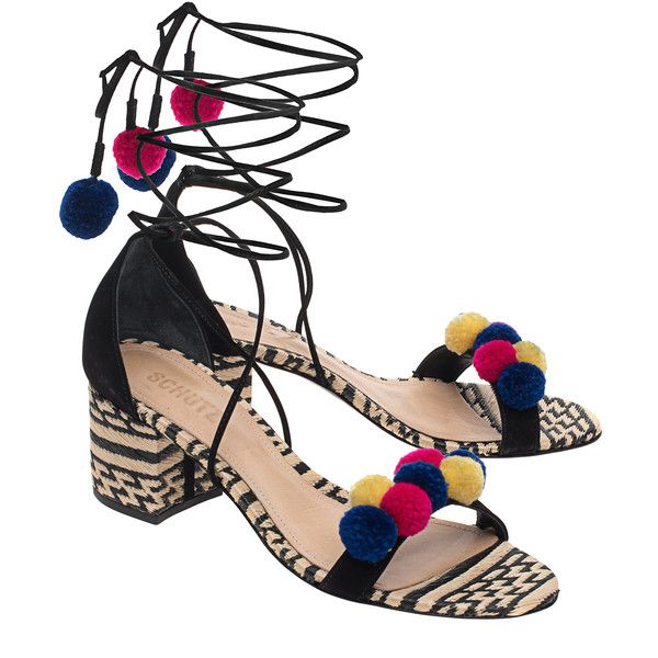 SCHUTZ Ethno Chic Multi // Laced block heel sandals (€179) ❤ liked on Polyvore featuring shoes, sandals, block-heel sandals, lace-up heel sandals, lace up shoes, mid heel sandals and summer sandals