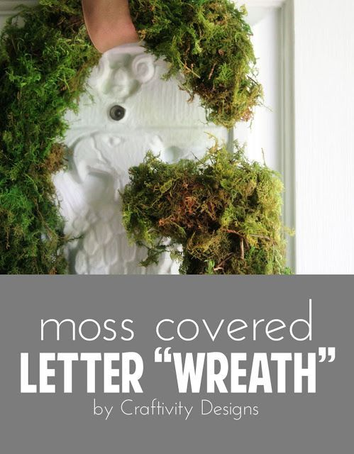 DIY Moss Covered Letter - http://www.craftsdiyhome.com/diy-moss-covered-letter