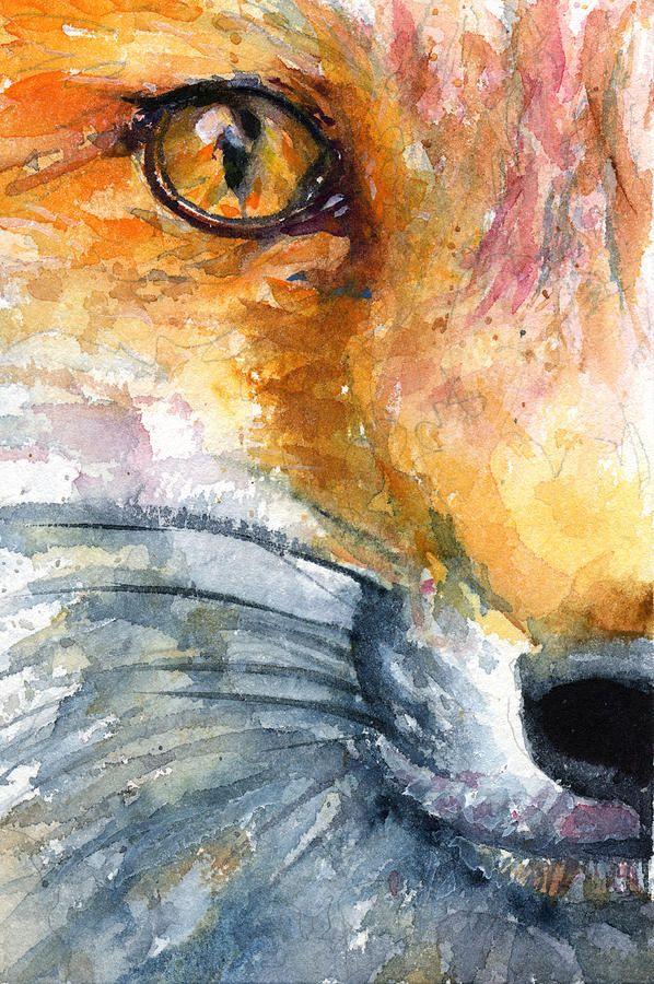 paintings of foxes | Eye Of Fox 1 Painting by John D Benson - Eye Of Fox 1 Fine Art Prints ...