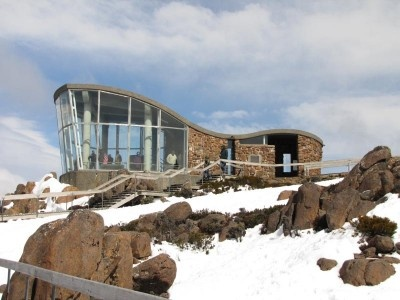 The lookout on Mt Wellington, accessed by road from Hobart.