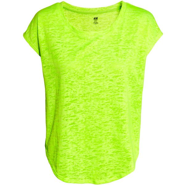 H&M Sports top ($15) ❤ liked on Polyvore featuring tops, neon green, neon green top, green top, sport tops, h&m and sports tops