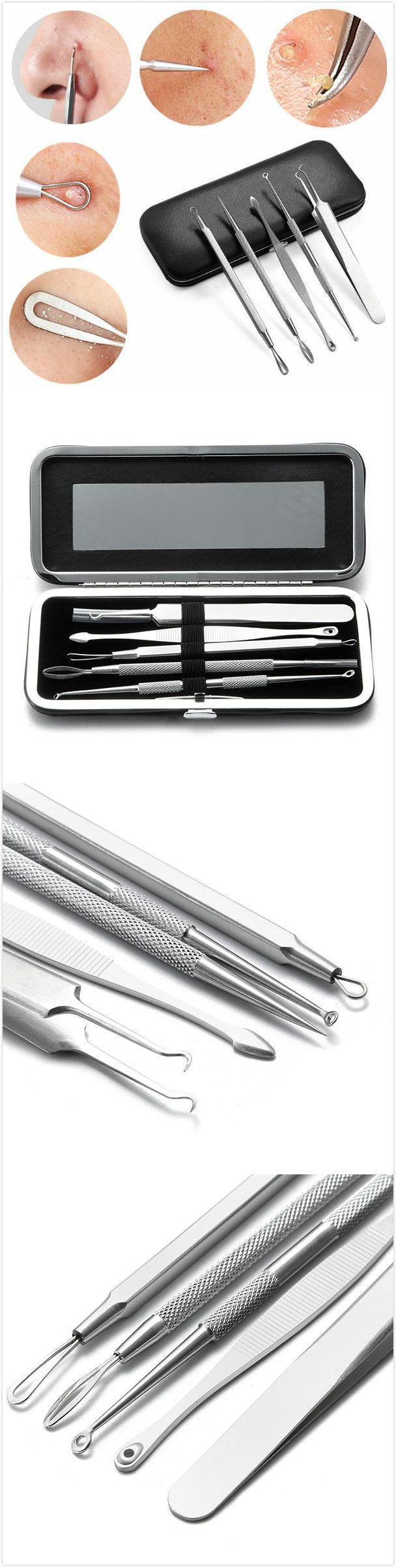 [$9.69] 5Pcs Blackhead Acne Blemish Pimple Remover Extractor Professional Tool Stainless Steel Kit