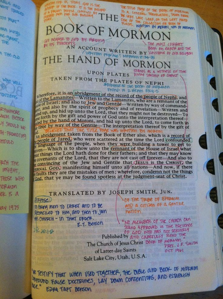 Things to write on the title pg of my Book of Mormon