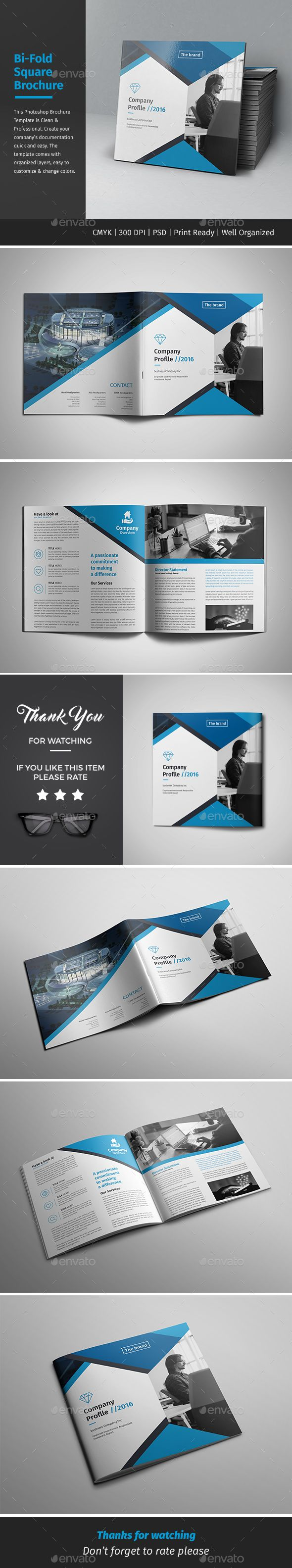 Corporate Bi-fold Square Brochure Template PSD