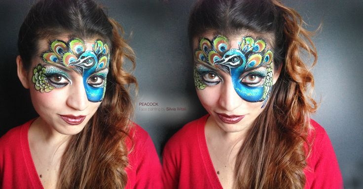 PEACOCK Face Painting by Silvia Vitali