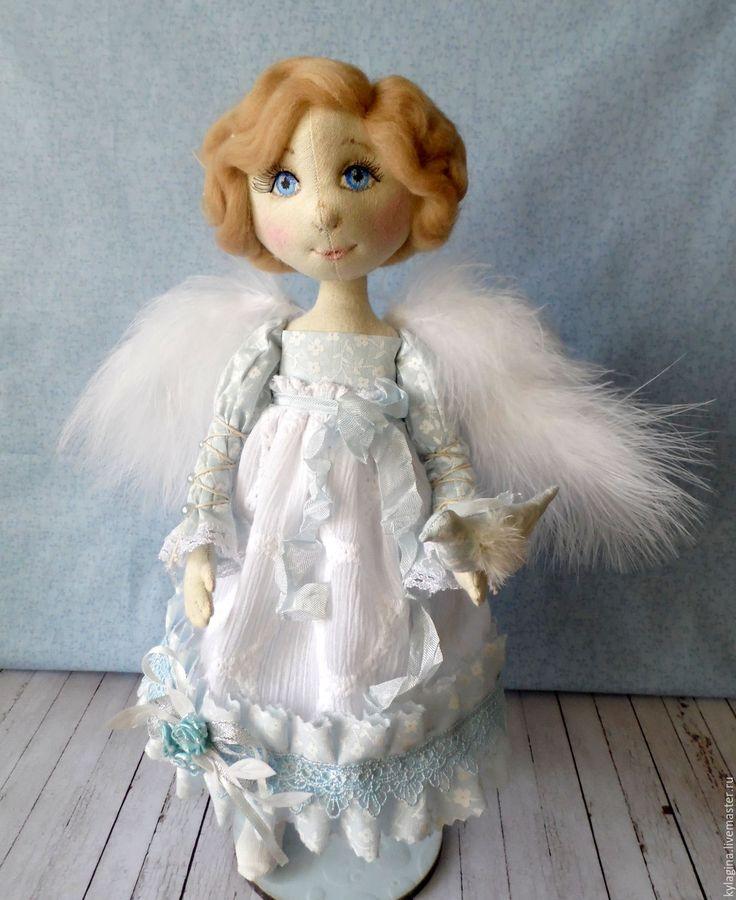 Купить Ангел Хранитель - белый, голубой, ангел, игрушка, текстильная игрушка, интерьерная игрушка