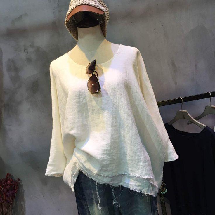 Individual Raw Hem Double Layered Blouse Wholesale Plain Flax Clothing    #layered #white #blouse #wholesale #retail #linen #flax