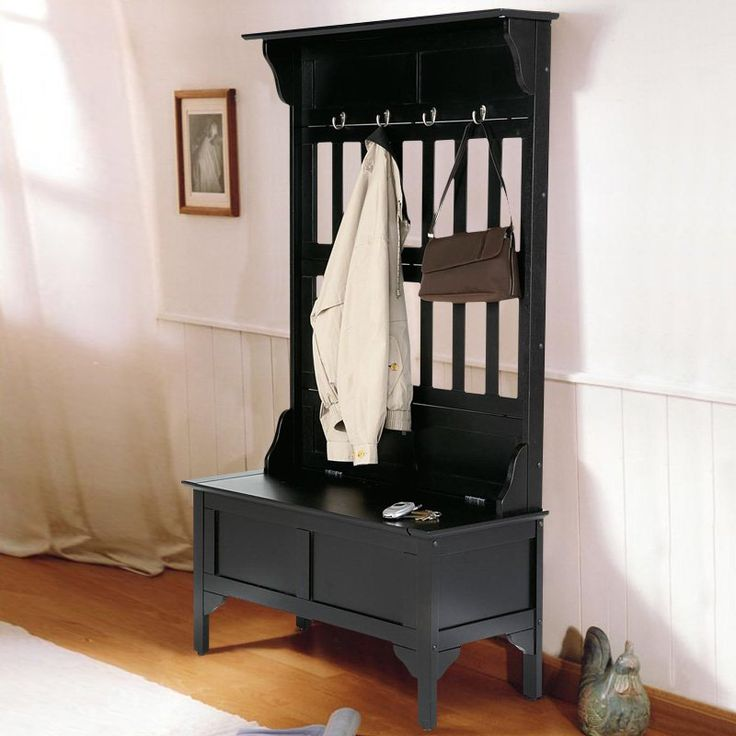 Home Styles Hoisin Hall Tree Storage Bench - Say goodbye to messy front halls strewn with coats and hats. The Home Styles Hoisin Hall Tree Storage Bench provides a stylish way to store and hang c...