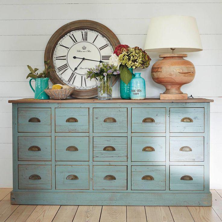 Comptoir meuble de métier gris bleu