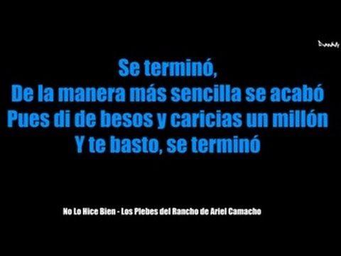(Letra) No Lo Hice Bien - Los Plebes del Rancho de Ariel Camacho - YouTube