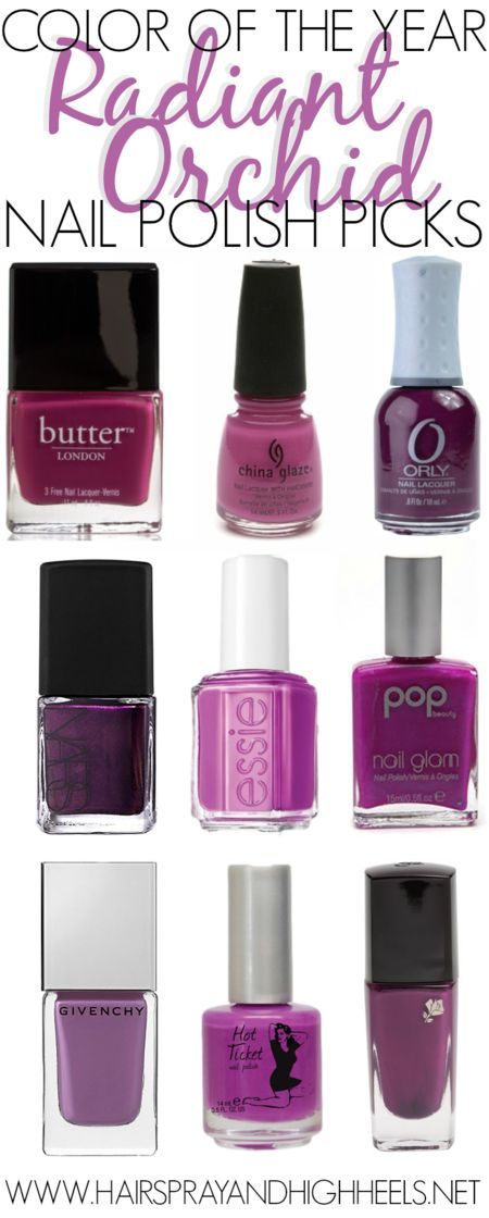 Radiant Orchid Nail Polish Picks - Butter London 'Queen Vic' | China Glaze 'Purple Panic' | Orly 'Frolic' | Nars 'Purple Rain' | Essie 'DJ Play That Song' | Pop Beauty 'Pansy Purple' | Givenchy Le Vernis Intense Color Nail Lacquer 'Croisiere Purple' | The Balm Hot Ticket 'A Fuchsia Too Many' | Lancôme 185N 'Purple Fiction'