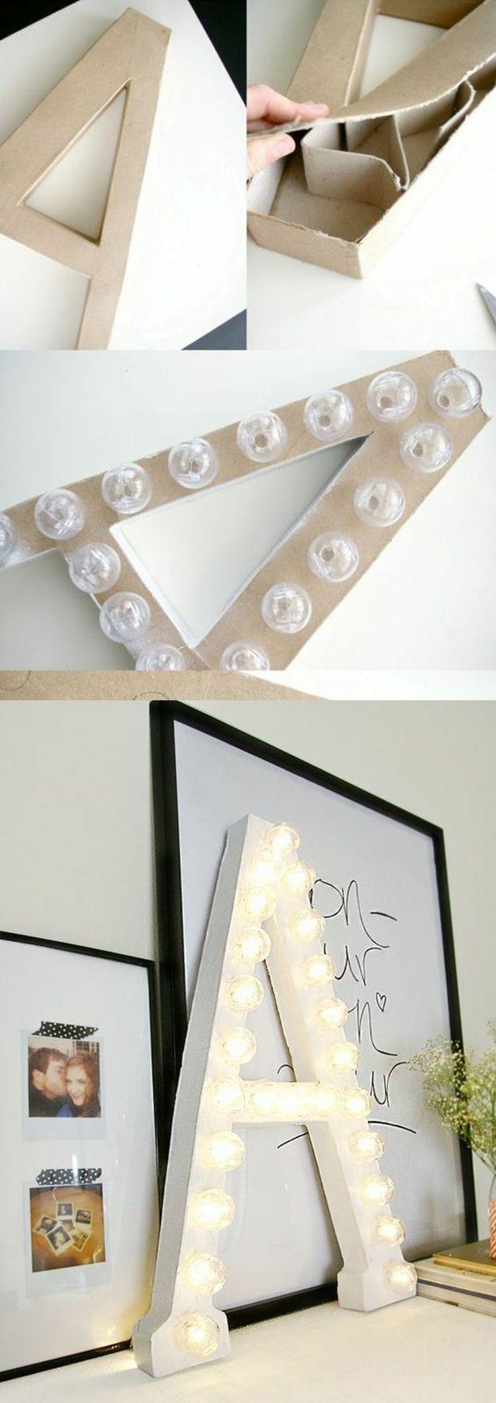 wanddeko, großer papp buchstabe, glühbirnen, lampe, bilder