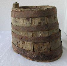 "10"" tall ... Antique primitive old WOODEN CANTEEN BARREL KEG 4 iron bands!!"