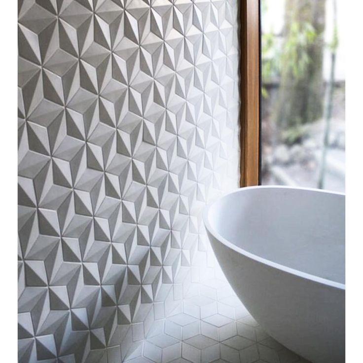 #Textured #tiles. #bathtub #bath #bathroom #hexagon #bad #badekar #baderomsinspo