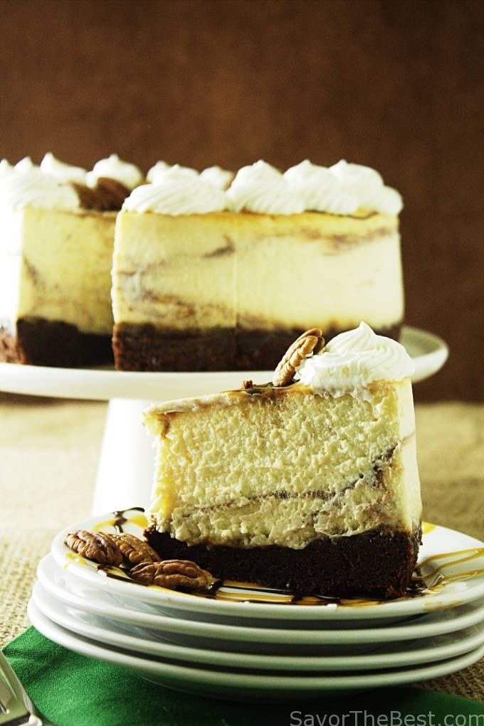 This chocolate caramel swirl cheesecake is a creamy, custardy texture with a brownie bottom. It is the perfect dessert to make ahead of time.