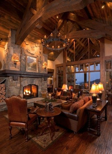 Rustic timberframe greatroom log home pinterest for Log cabin chandelier