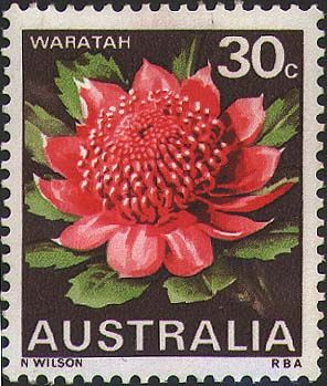 Australian postage stamp    Date of issue: 10 July 1968    Designer: N. Wilson    Plant: Telopea speciosissima
