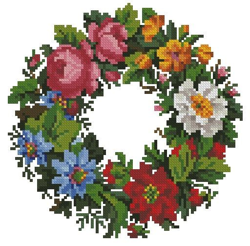 Bright flower wreath vintage cross stitch digital pattern for wool Berlinwork