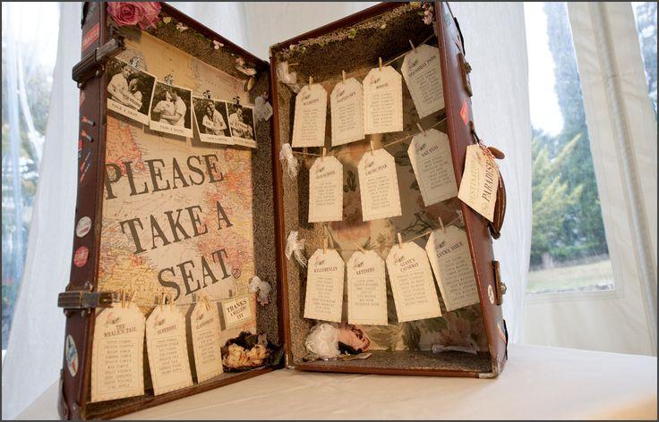 Vintage suitcase seating plan   Italian Wedding Photography & Videography - Alfonso Longobardi   wedding planner www.infinity-weddingsandevents.it