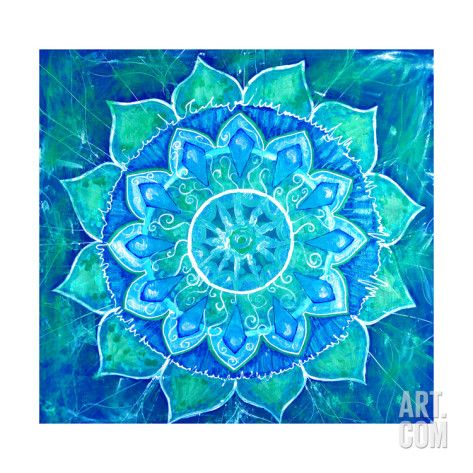 Art.fr - Reproduction d'art 'Abstract Blue Painted Picture with Circle Pattern, Mandala of Vishuddha Chakra' par shooarts