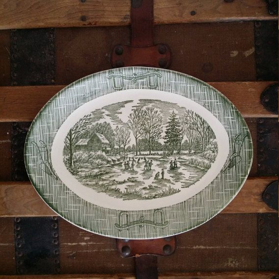 Currier & Ives Green Plate Plow Harness by DarlenesCountryGoods