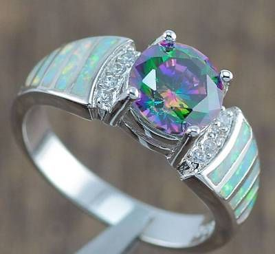 White-Fire-Opal-Rainbow-Topaz-Women-Jewelry-Gems-Silver-Ring-5-6-7-8-9-10-OJ4842 #opalsaustralia