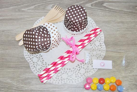 Mini kit party tra amiche set rosa shocking e di Lovelyprintable, €12.00