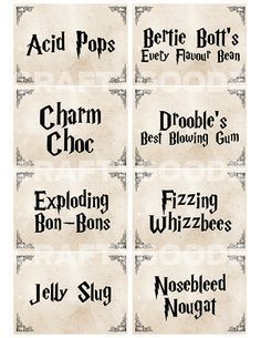 harry potter candy printables - Google Search                                                                                                                                                                                 More