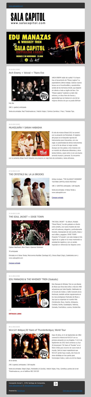 Sala Capitol, Santiago de Compostela, informa de sus próximos conciertos mediante newsletter enviado utilizando OcioUno; la plataforma tecnológica para locales de ocio nocturno.
