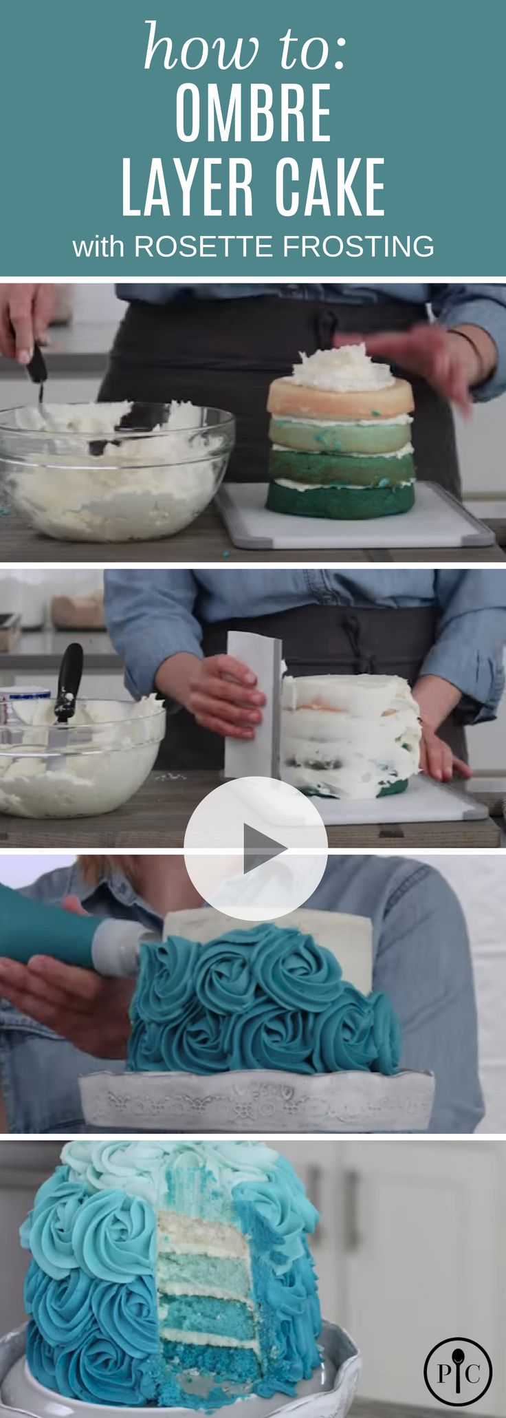 How To: Ombre Layer Cake With Rosette Frosting (ombre cake videos)