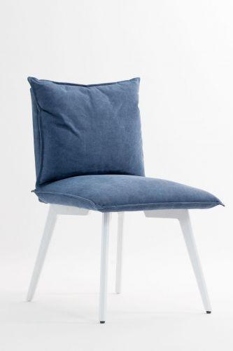 Stilig og moderne Stirling spisestol med hvite ben og ring på stolryggen.