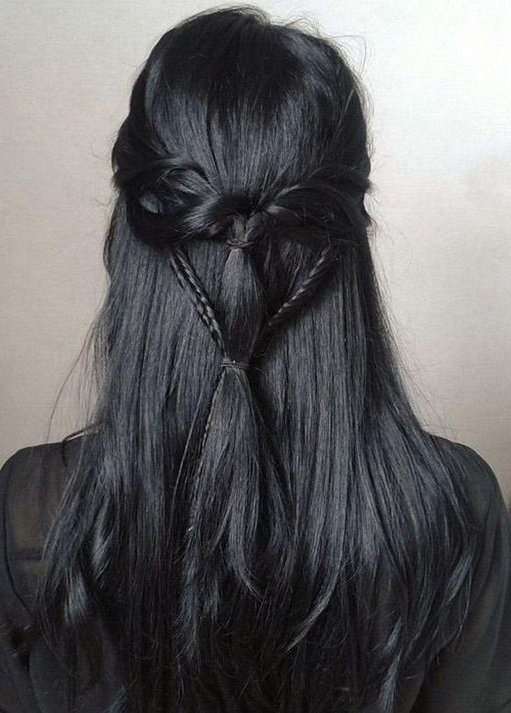 Penteados impressionantes para idéias de cabelo preto quente (24