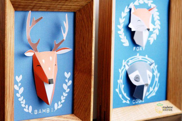 animaux papier trophée à imprimer// animales de papel para imprimir