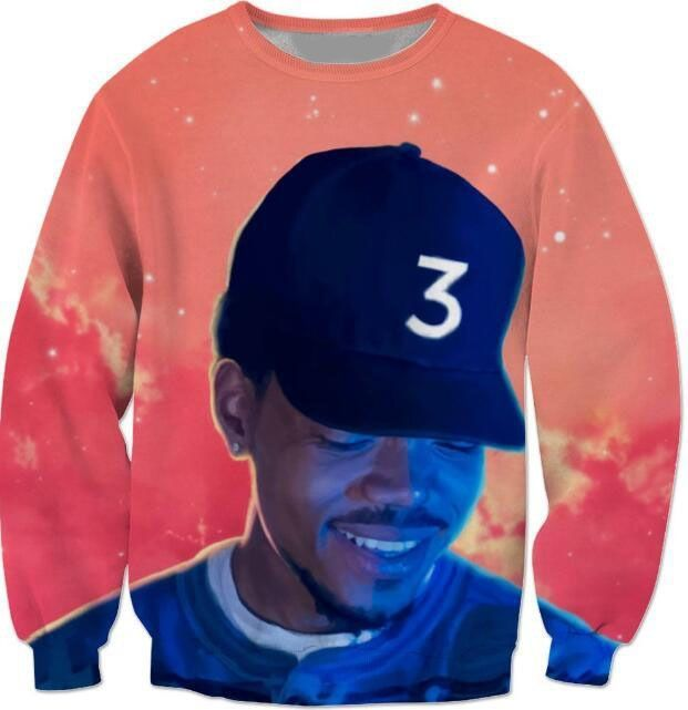 Popular Chance The Rapper 3 Sweatshirts  Red Space Crewneck Casual Fashion Clothing Hoodies Outerwear Jumper Top Tees