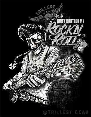 Detalles de Nuevo Men t-shirt-talla S M L XL XXL negro rock n roll rockabilly…